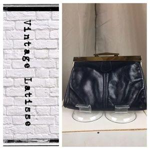 Vintage Navy Blue leather clutch/handbag combo